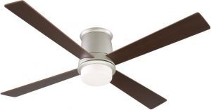 Inlet Satin Nickel Ceiling Fan, Cherry/walnut Blades And Opal Frosted Glass
