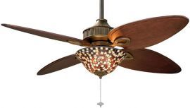 Bayhill Venetian Bronze Ceiling Fan With Light Kit, Custom Blades, Mosaic Glass