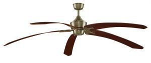 "The Big Island Antique Brass Ceiling Fan, 36"" Teak Finish Curved Composite Blade"