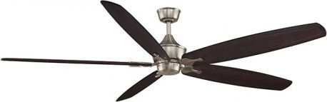 "The Big Island Brushed Nickel Ceiling Fan, 36"" Large Carved Dark Walnut Wood Blade"