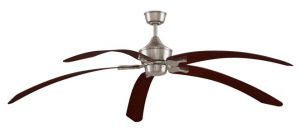 "The Big Island Brushed Nickel Ceiling Fan, 36"" Mahogany Curved Composite Blade"