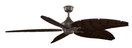 "The Big Island Oil Rubbed Bronze Ceiling Fan, 32"" Walnut Finish Carved Wood Blade"