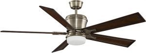 "Sandella Antique Brass Ceiling Fan, 26"" Rich Cognac Carved Blades"