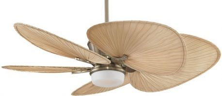 "Sandella Antique Brass Ceiling Fan, 22"" Natural Wide Oval Palm Leaf Blades"