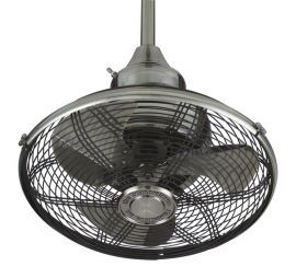 Extraordinaire 360 Degrees Orbit Pewter Ceiling Fan, 220v, Black Cage