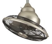 Extraordinaire 360 Degrees Orbit Satin Nickel Ceiling Fan, Black Cage