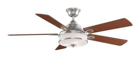 Stafford Brushed Nickel Ceiling Fan, White Frosted Glass, Cherry/dark Walnut Blades