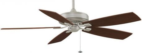 Edgewood Deluxe Satin Nickel Ceiling Fan, Cherry/walnut Blades