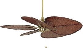 "FP320AB-ISD1A Islander Antique Brass Ceiling Fan With 22"" Antique Wide Oval Woven Bamboo Blades"