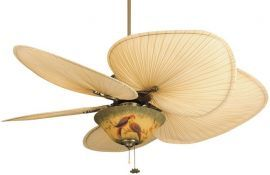 "FP320AB-ISP1-F423AB-G439 Islander Antique Brass Ceiling Fan w/ 22"" Natural Wide Oval Natural Palm Leaf Blades And Bowl"