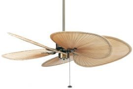"FP320AB-ISP1 Islander Antique Brass Ceiling Fan w/ 22"" Natural Wide Oval Natural Palm Leaf Blades"