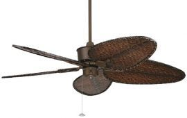 "FP320OB-ISD4A Islander Oil-rubbed Bronze Ceiling Fan w/ 22"" Antique Narrow Oval Woven Bamboo Blades"