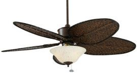 "FP320RS-ISD4A-F423RS-G459 Islander Rust Ceiling Fan w/ 22"" Antique Narrow Oval Woven Bamboo Blades And Bowl"