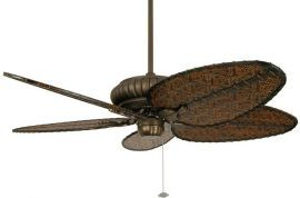 "FP4320AZ1-BPD4A Belleria Aged Bronze Ceiling Fan w/ 22"" Antique Narrow Oval Composite Woven Bamboo Blades"