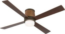 FPS7880OB-HA7880WA Inlet Oil-rubbed Bronze Ceiling Fan W/ Opal Frosted Glass And Walnut Finish Woven Housing