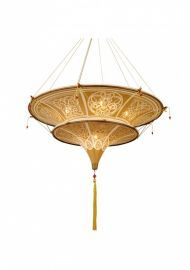 Ga01 6 Light Light Brown Fabric Shade Ceiling Lamp