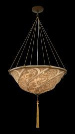 Ga25 6 Light Beige Fabric Shade Fixture