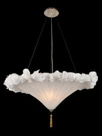 Ga30 3 Light White Fabric Shade Fixture