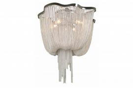 Hf1403-ch Draped Chrome Chain Flush Mount