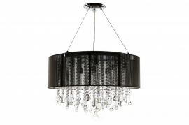 Hf1500-blk Round Black Silk String Shade And Crystal Dual Mount
