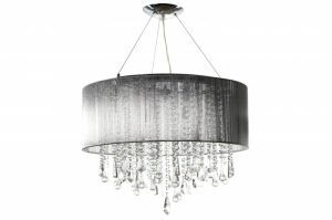 Hf1500-slv Round Silver Silk String Shade And Crystal Dual Mount