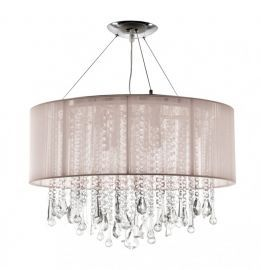 Hf1500-tp Round Taupe Silk String Shade And Crystal Dual Mount