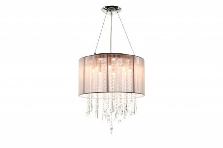 Hf1501-tp Round Taupe Silk String Shade And Crystal Dual Mount