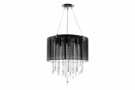 Hf1501blk Round Black Silk String Shade And Crystal Dual Mount