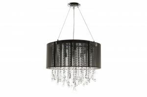 Hf1502-blk Round Black Silk String Shade And Crystal Dual Mount