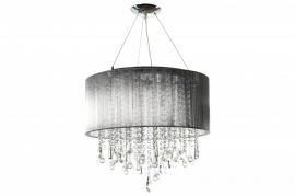 Hf1502-slv Round Silver Silk String Shade And Crystal Dual Mount