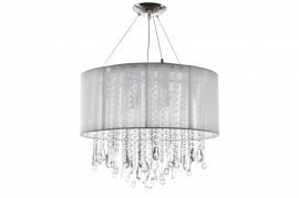 Hf1502-wht Round White Silk String Shade And Crystal Dual Mount