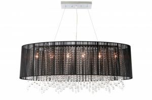 Hf1503-blk Oval Black Silk String Shade And Crystal Dual Mount