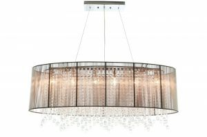 Hf1503-tp Oval Taupe Silk String Shade And Crystal Dual Mount
