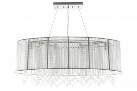 Hf1503-wht Oval White Silk String Shade And Crystal Dual Mount