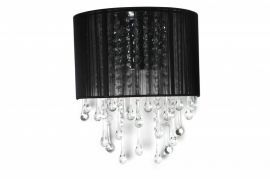 Hf1511-blk Black Silk String And Crystal Wall Sconce