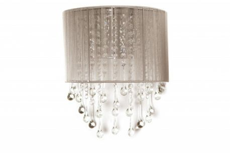 Hf1511-tp Taupe Silk String And Crystal Wall Sconce