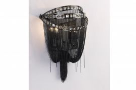 Hf1607-blk Black Chrome Chain And Smoke Crystal Wall Sconce