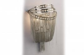 Hf1607-nck Polish Nickel Chain And Crystal Wall Sconce