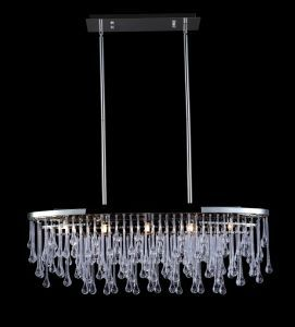 Hf1806-pn Polished Nickel And Tear Drop Crsytal Oval Hanging Fixture