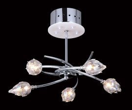 10-Light Chrome Ceiling Fixture w/ Plastic Bulb Covers, 14W x 12H
