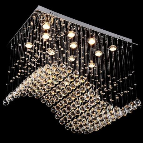 Contemporary 11-Light Crystal Wave Chandelier, 20W x 32L x 24H