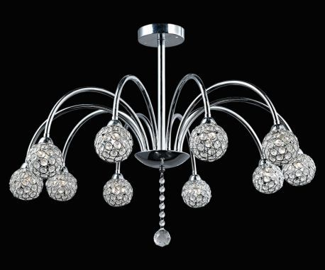 "Contemporary 10-Light Ceiling Fixture w/ 10 Wire Balls, 30"" x 14"""