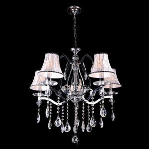Maria Theresa 5-Light Chrome Chandelier w/ Biscuit Shades, 28W x 48H