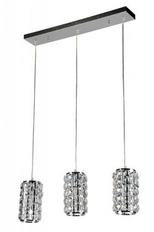Three Cylinder Pendant Fixture, Rectangular Canopy, Crystal Shade