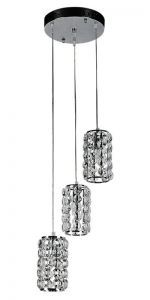 Three Cylinder Pendant Fixture, Round Canopy, Crystal Shade