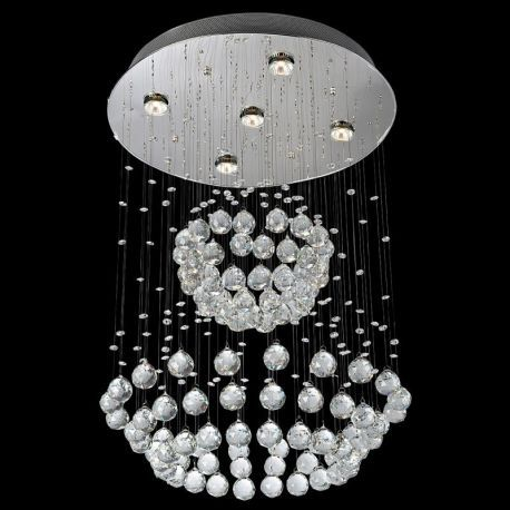 Contemporary 5-Light Rain Globe Crystal Chandelier