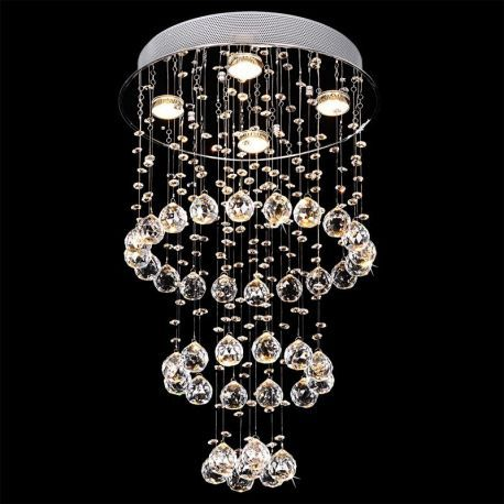 Contemporary 4-Light Round Waterfall Crystal Chandelier