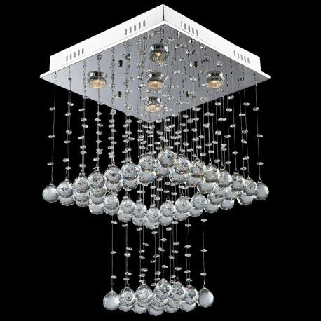 Contemporary 5-Light Square Waterfall Crystal Chandelier
