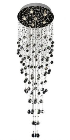 "6-Light Contemporary Galaxy Crystal Chandelier, 20"" x 62"""