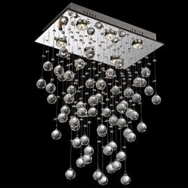 Contemporary 6-Light Galaxy Rectangular Crystal Chandelier